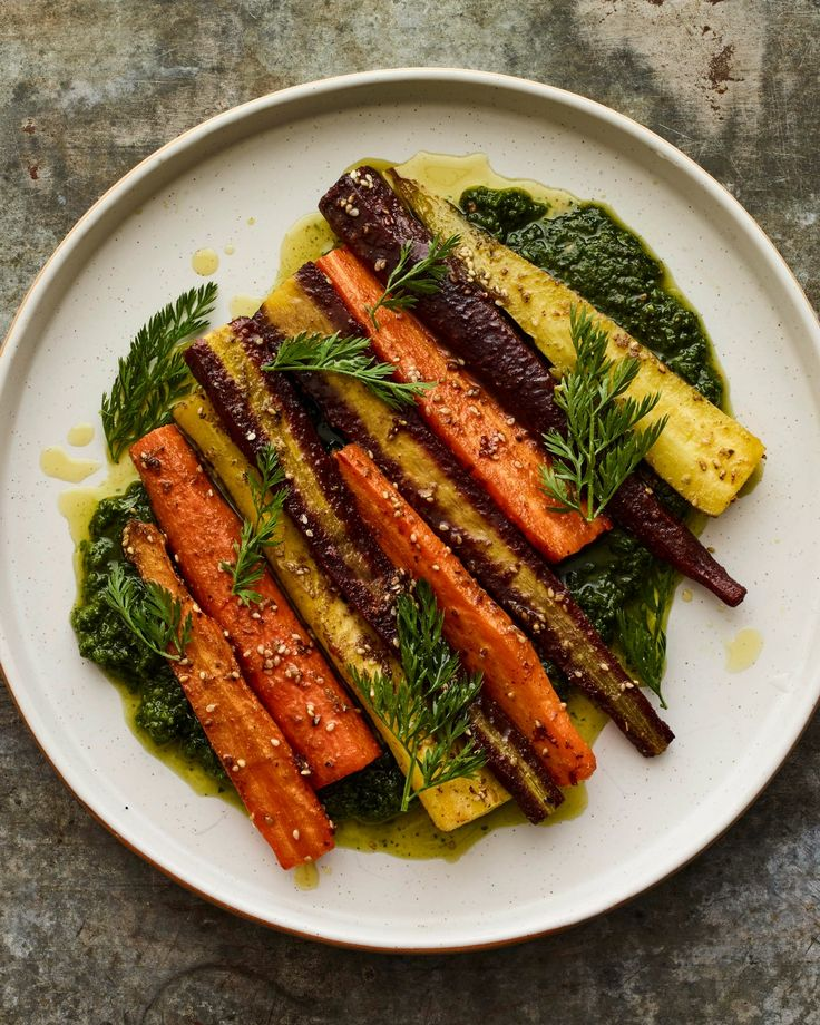 ZA'ATAR CARROTS WITH GREEN CARROT-TOP TAHINI- No more throwing out your vegetable tops — use them.