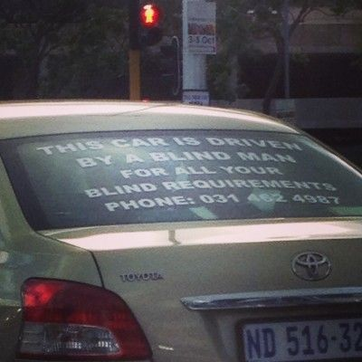 So I stopped at a traffic light this morning - ha ha ha - guess this is an effective ad unless he has an accident LOL