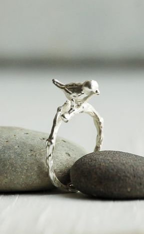 BIRD RING Adjustable Silver Ring Woodland Ring