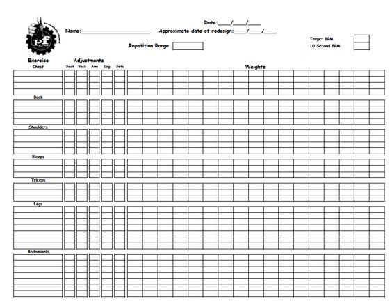Training worksheet to record gym workouts from Planet Fitness: