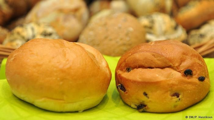 Milchbrötchen (milk roll) // 11 bakery bestsellers in Germany  For kids and those who prefer just a touch of sweetness to their breakfast or snack, most bakeries offer so-called Milkbrötchen - a fluffy white dough prepared with a dash of milk and either raisins or chocolate chips inside. Since it's easy to confuse the two kinds of black spots, ask before odering so you don't expect chocolate and bite into a aged grape instead.