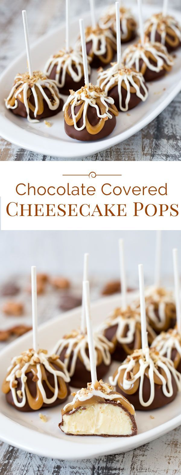 Chocolate Covered Cheesecake Pops with rich, smooth and creamy cheesecake covered in luscious milk chocolate then drizzled with caramel and white chocolate.