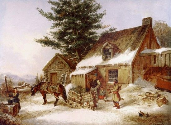 Cornelius Krieghoff, Bargaining for some wood. c 1850, Quebec, Canada. I love how friendly this painting is, how down-home comfy, and comical too - look at the chickens in the corner.