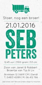 Geboortekaartje vrachtauto | jongen | birth announcement boy | typografie en letterpress stijl. www.meisenmanneke.nl