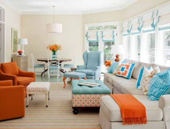 Blue and orange sofa in contemporary amazing and unique living room