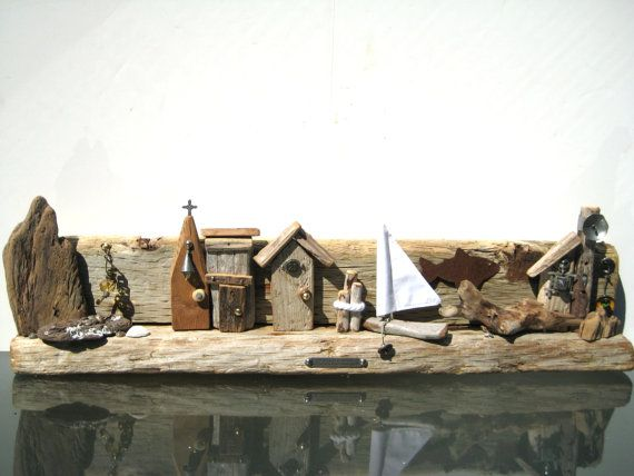 Driftwood Seascape Nautical Seascape Driftwood by BlackCrowCurios