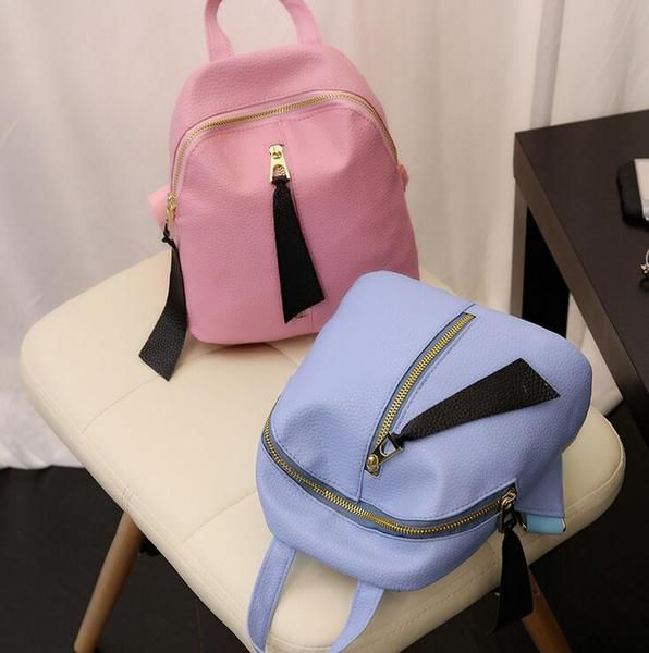 Simple and stylish backpack embossed leather midline zipper