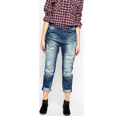 Maison Scotch - L'Adorable - Boyfriend jeans strappati - Denim asos marroni elasticizzati
