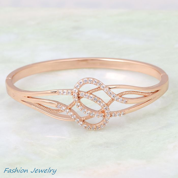 Exquisite Best Quality bangles bracelets 18K rose gold plated white cubic zirconia fashion jewelry bangles for women B264 $7.90