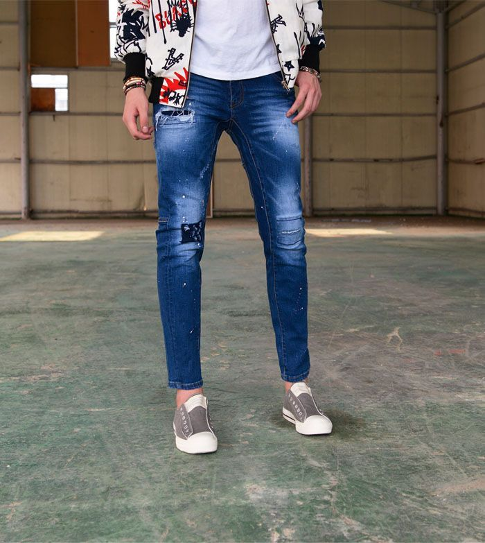 The product Patchwork Slim Ankle Biker-Jeans 322 is sold by SNEAKERJEANS…