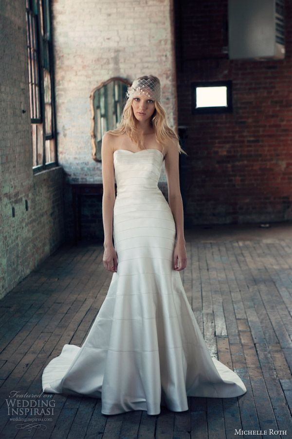 Ryan strapless fitted A-line gown. This gown features horizontal seaming using lustrous satin panels.