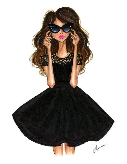 Grabado de la ilustración de moda negro vestido de Flare por anumt, $25,00