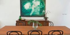 Spacious dining area, wall art, artistic shot, timber dining room table, vase, sideboard, Pilcher Residential