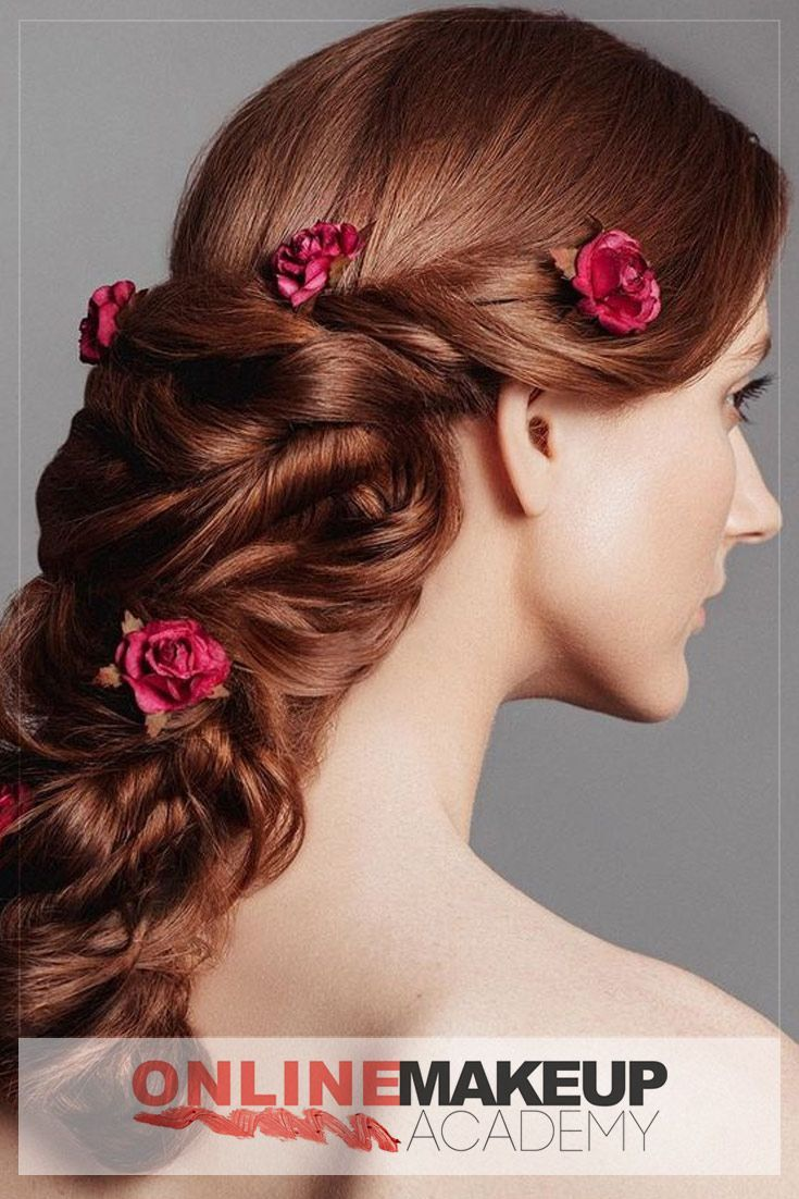 Amazingly beautiful greek braid with incorporated flowers created by Online Makeup Academy for the Editorial Photoshoot will be a perfect hairstyle for any special event including Wedding.