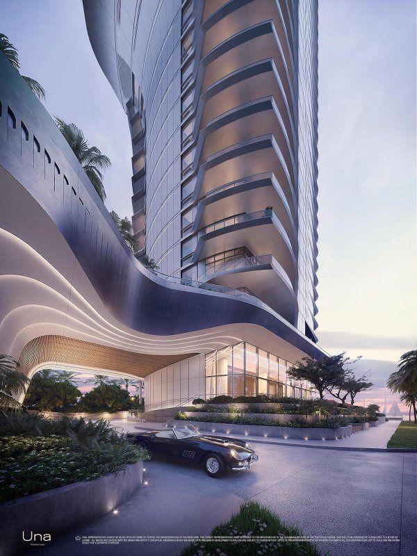 Una Residences Miami Brickell Residences Porte Cochere Hotel Architecture