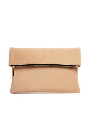 ASOS neutral Square Clutch Bag with Zip Top
