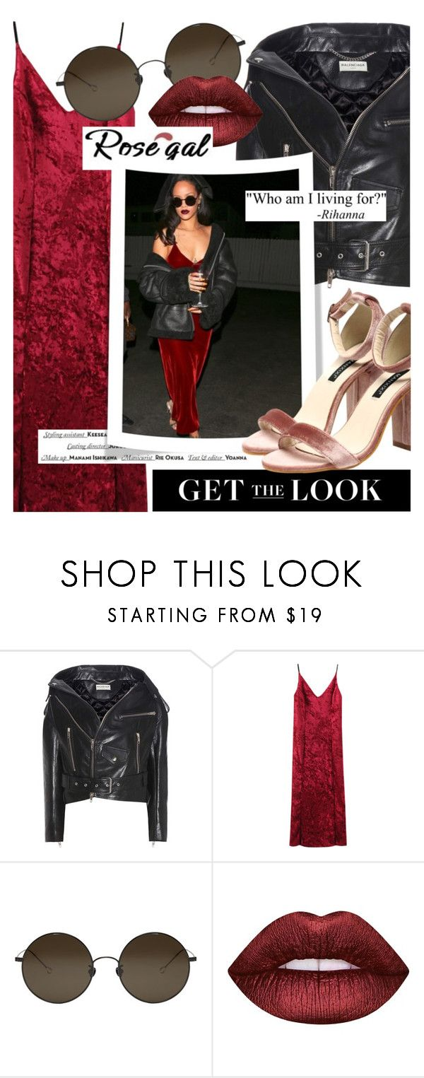 """""""Get the Look: Velvet (rosegal.com / coupon code ROSEPC2017 )"""" by cultofsharon ❤ liked on Polyvore featuring Balenciaga, Ann Demeulemeester, Lime Crime and Vision"""