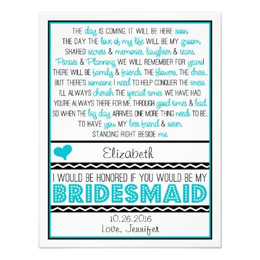 Will You Be My Bridesmaid Turquoise Black Poem Card
