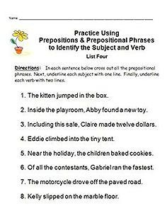 identifying subjects verbs easy mastery using prepositions prep phrases student. Black Bedroom Furniture Sets. Home Design Ideas