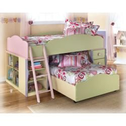 Signature Design By Ashley   7 Pc Twin Over Twin L Shaped Doll House Loft  Bed Set
