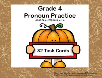 This collection of 32 task cards provides good reinforcement and review for your fourth graders. It challenges them as they choose between your, you're, who's whose, and their, they're to name a few examples of pronouns that sometimes are misused by students. They are aligned with CCSS.ELA-LITERACY.L.4.1.A Worksheet and answer key are included.