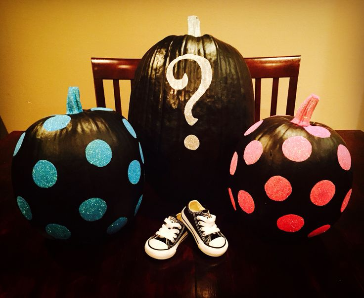 Painted pumpkins used for my gender reveal party!                                                                                                                                                      More