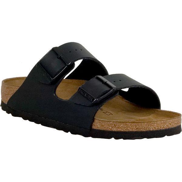 Birkenstock Arizona Birko-Flor Unisex Slide Sandal ($100) ❤ liked on Polyvore featuring shoes, sandals, black, birkenstock sandals, adjustable sandals, black strap sandals, arch support sandals and unisex sandals
