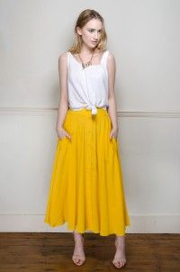 Vintage Yellow silk A-Line Skirt - Skirts - Womens Vintage | Retro & Vintage Clothes UK