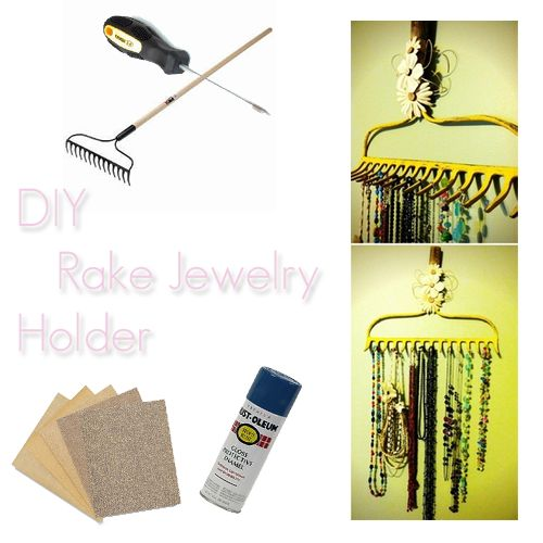 DIY: Rake Jewelry Holder--this is so DIY gotta do it! And sooo cute!!