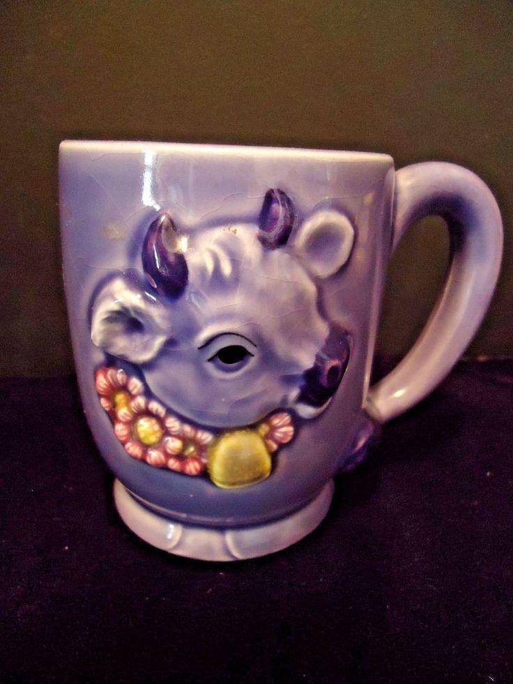 RARE Purple Cow Coffee Cup Mug Japan vintage 3D embossed relief