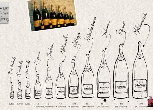 Champagne Bottle Sizes. LOVE