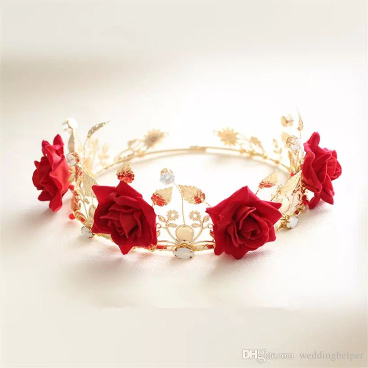 Vintage Wedding Bridal Floral Crown Flower Headband Red Rose Crown Tiara Leaf Headpiece Princess Queen Hair Accessories Vintage Prom Jewelry Bridal Hair Pins Bridal Hats From Weddinghelper, $26.11| Dhgate.Com