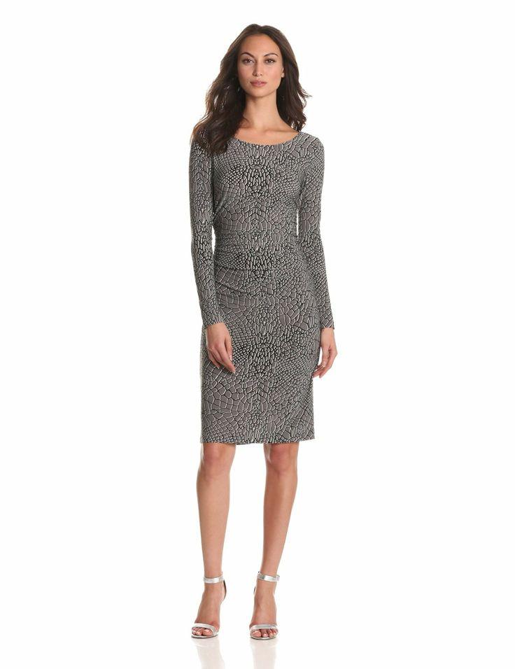 Eye catching grey alligator print dress. #officedress