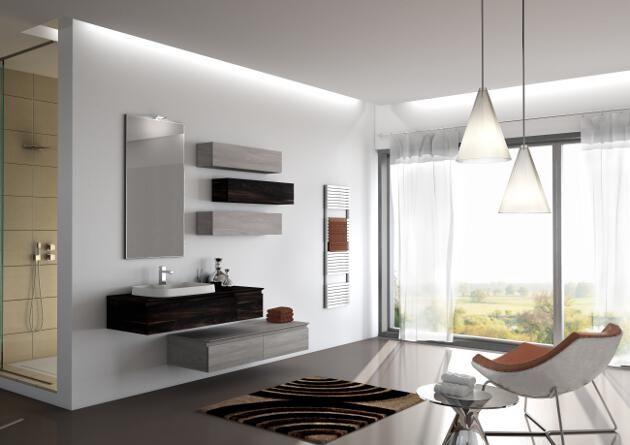 Gioco di moduli con specchio illuminato a led #bagno #arredobagno #design #madeinitaly #bath #bathroom #home