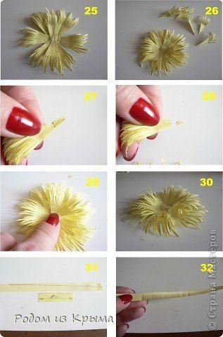 Хризантемы из бумаги. Мастер-класс фото #6