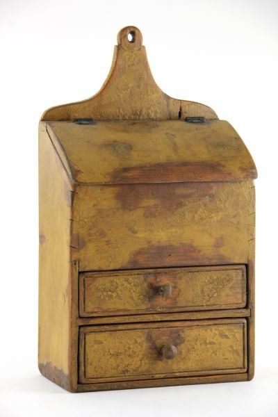 American Painted Hanging Box, late 19th century, pine, worn mustard painted surface, 18.5 x 10 x 5.5 in.
