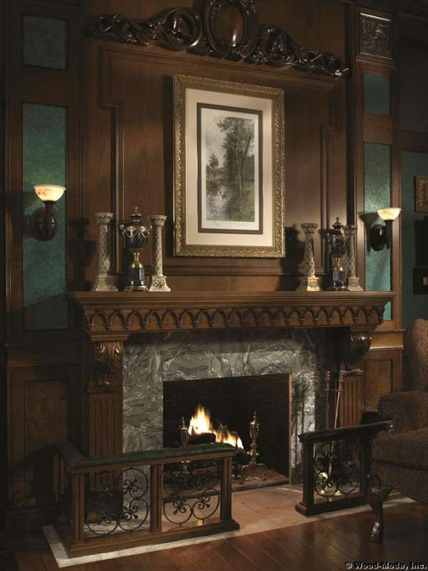 love the fence around this fireplace