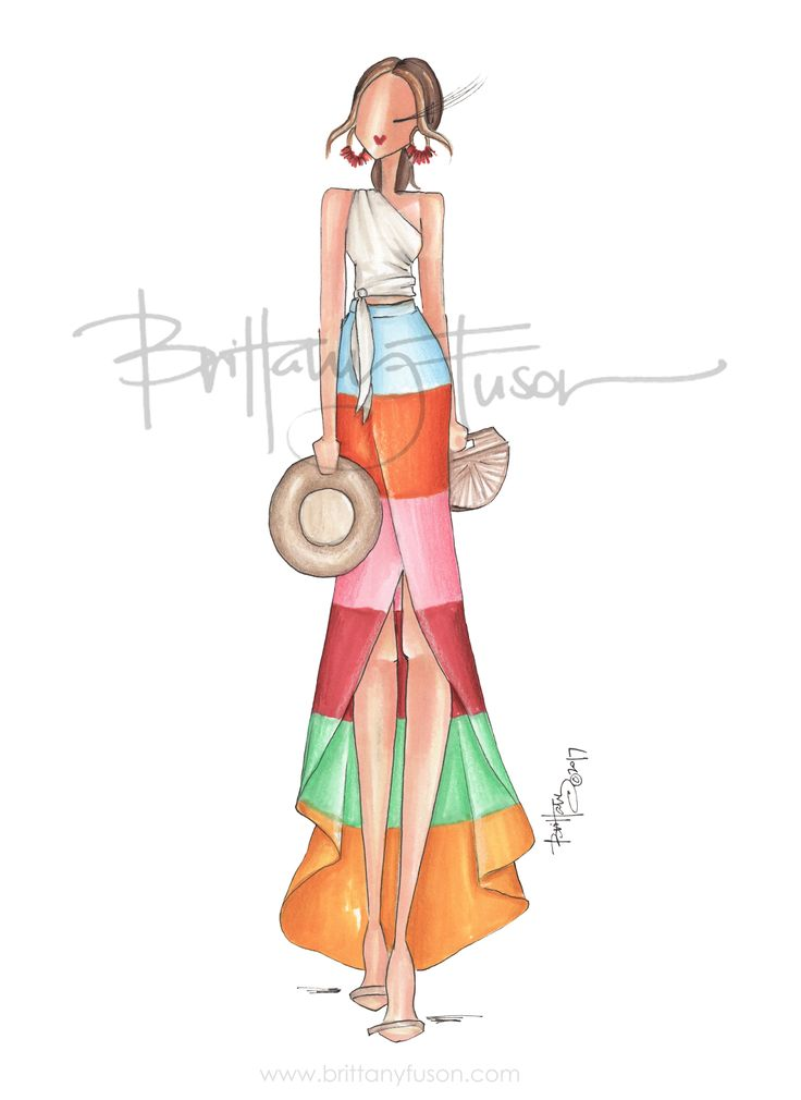 Cabo | beach style | summer | straw hat | arc bag | maxi skirt | maxi dress | statement earrings | fashion illustration | Brittany Fuson