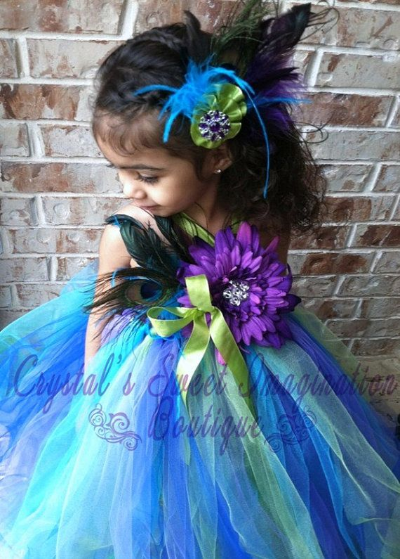 Flower Girl Peacock Tutu Dress & Matching Hair by CSIboutique, $67.99