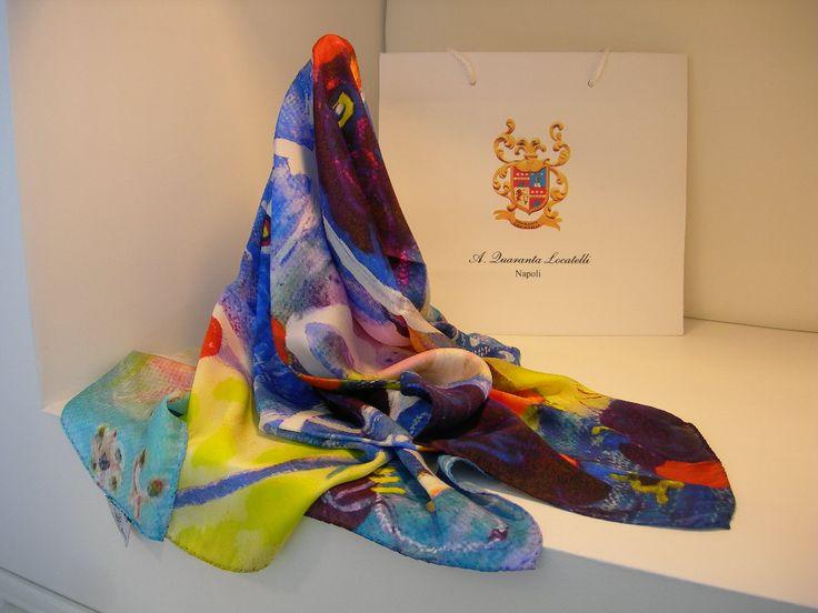 aquaranta locatelli collection silk art scarf art foulard - Foulard Color