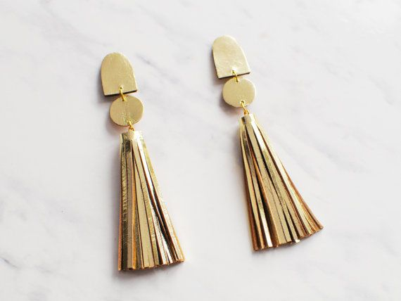 Handmade Gold Leather Long Tel Statement Earrings