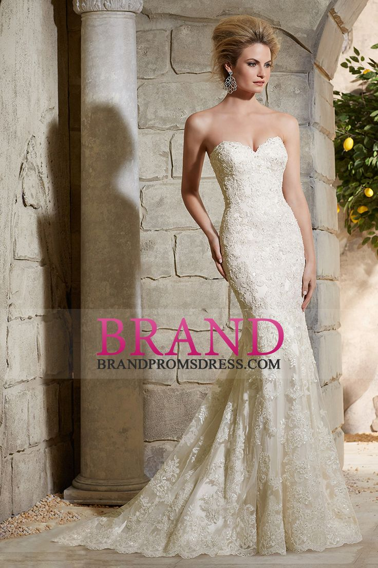 2015 Wedding Dresses Sweetheart Mermaid/Trumpet Court Train With Beads