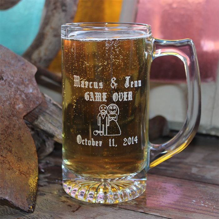 Customized Wedding Beer Glasses : ... about Beer Mugs on Pinterest Set of, Groomsmen and Red wine glasses