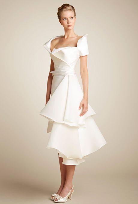 Brides: Giuseppe Papini. Silk mikado short wedding dress with removable silk belt and organza train. Silk sculpture removable jacket. www.giuseppepapini.com