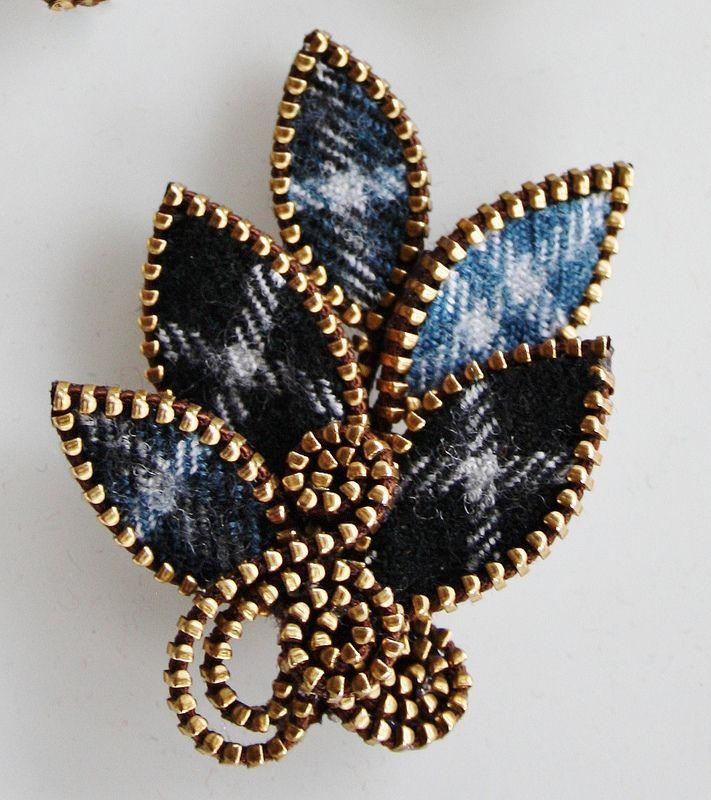 Tartan wool brooch