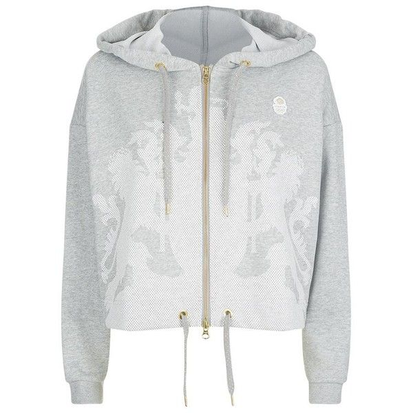 Adidas Originals Team GB Cropped Crest Hoodie ($78) ❤ liked on Polyvore featuring tops, hoodies, cropped tops, white hoodie, cropped hoodie, white hoodies and white crop top