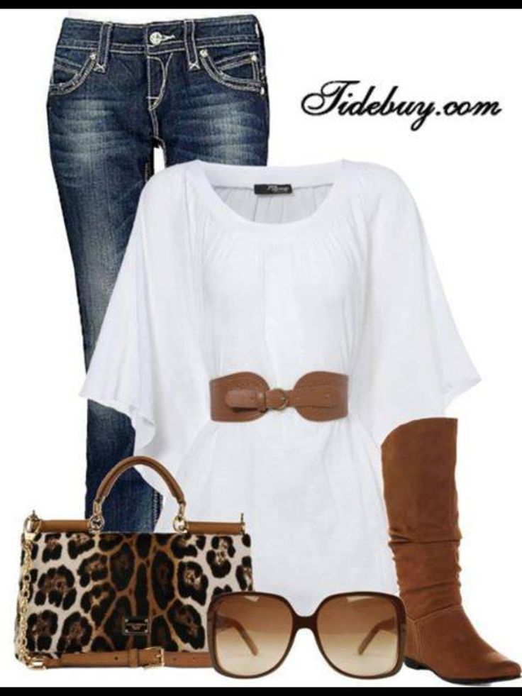 White Top With Jeans And Brown Belt Leopard Print Purse Boots
