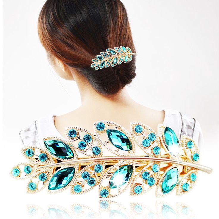 1 pc Beauty Women Fashion Crystal Leaf Hair Clip Rhinestone Barrette Hairpin Headband Hair Accessories for Women Wedding Jewelry
