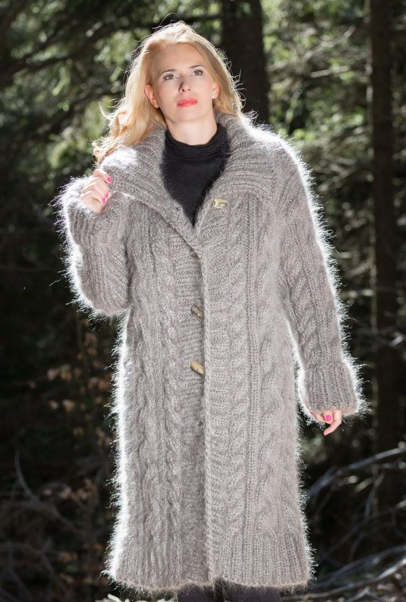 GEMAAKT op bestelling grijs gebreide Mohair jas lang vest dik vest maat M/L/XL door TanglesCreations