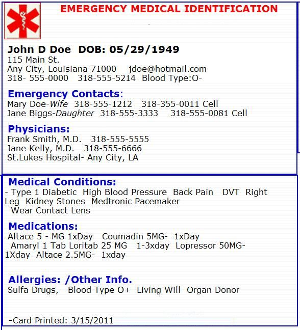 Emergency medical card emergency preperation pinterest for Medical alert wallet card template